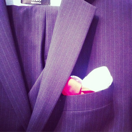 Classic navy pin stripe with baby blue lining - two pocket squares! #suitoftheday #TrioCustoms