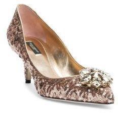 Dolce & Gabbana Crystal-Embellished Paillette Point Toe Pumps #bridalshoes  #wedding