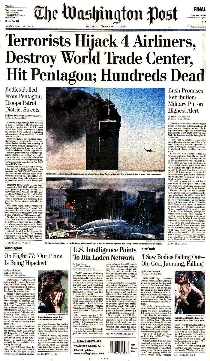 9 11 Pentagon Newspaper Headlines | AP History - September 11th Terrorist Attack G6