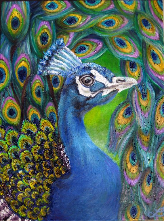 Print Of Original Oil Painting Peacock With Abstract