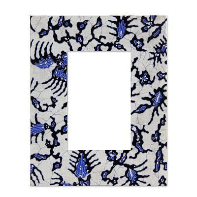 Cotton batik photo frame, \'Java Legacy\'. Rich shades of blue form ...