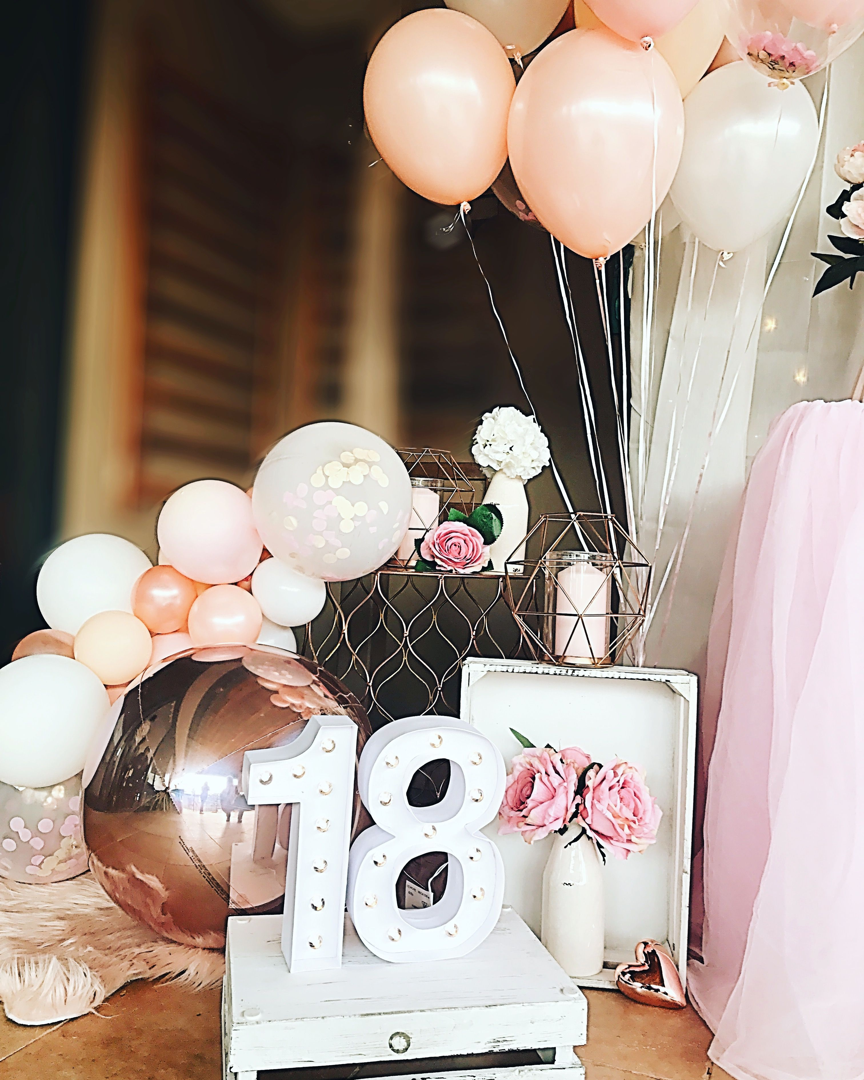 Blush pink and rose gold 18th birthday party balloon ...