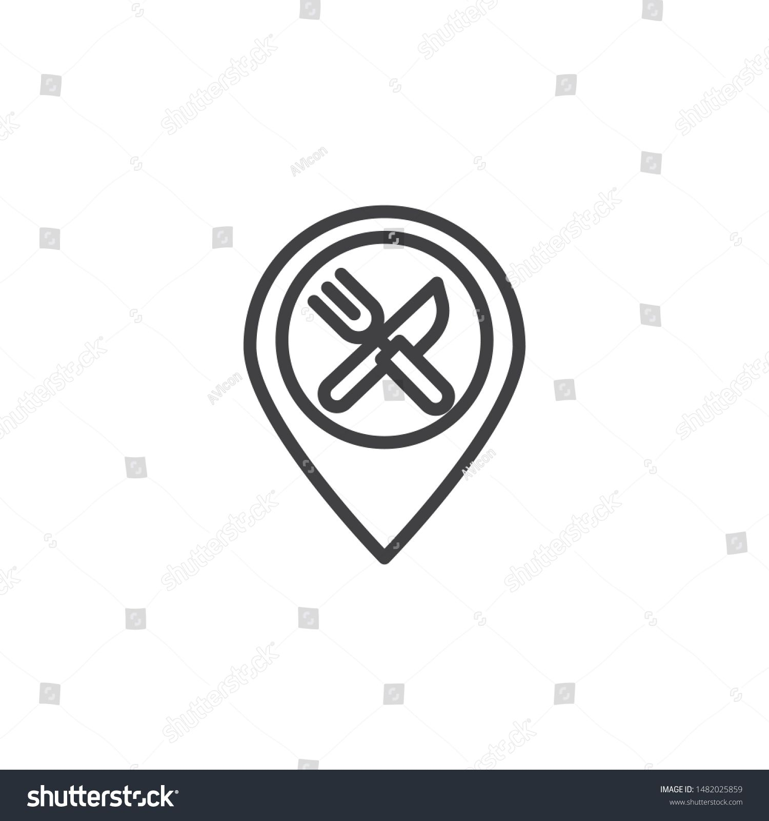 Restaurant Location Pin Line Icon. Linear Style Sign For