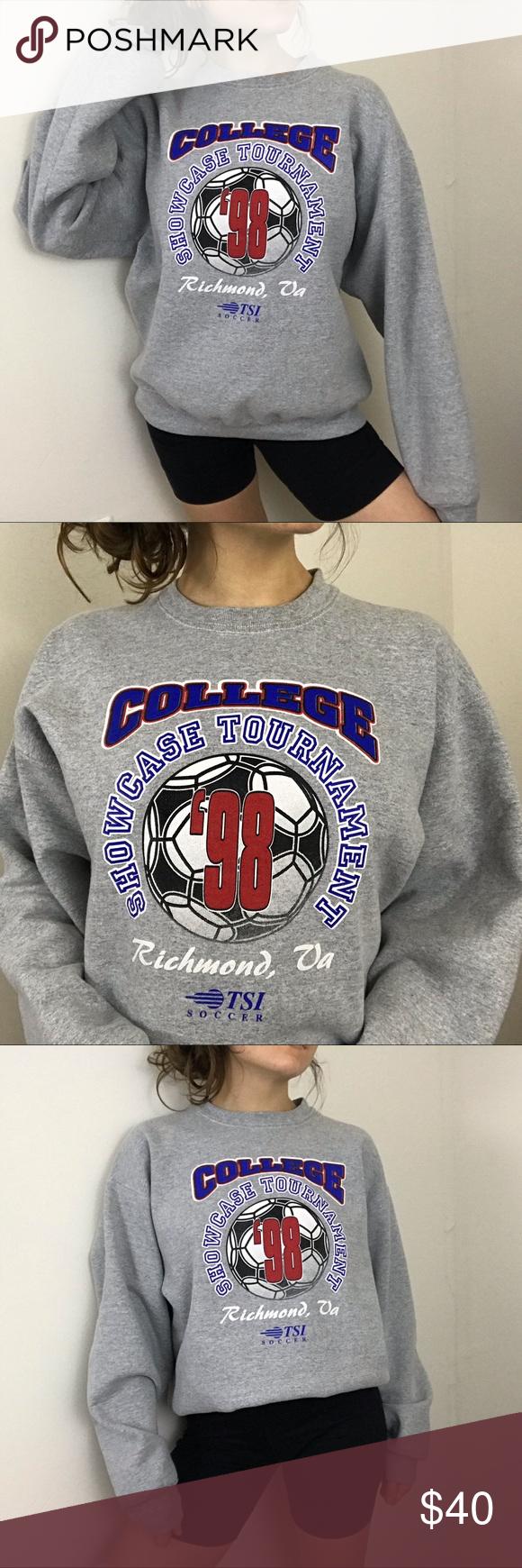Vintage 1998 College Soccer Tournament Crewneck Sweatshirt Tops Novelty Sweater Crew Neck [ 1740 x 580 Pixel ]