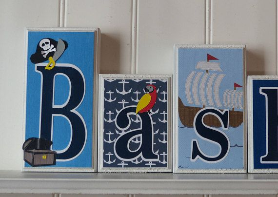Bedroom Decor Letters home decor - nautical decor - pirate theme - nautical letters