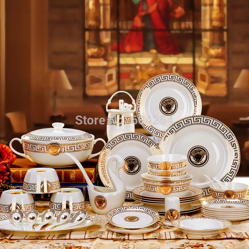 Cheap Bone China Tableware Buy Quality Directly From Suppliers 60 Pieces Gold Trim Luxurious High Grade