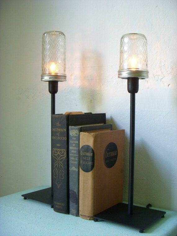 Mason Jar Lighting Mason Jar Table Top Lamp Rustic Industrial Modern Clear Quilted Pattern Ball Jelly Jam Mason Jar Lighting Fixture Mason Jars Jar Lights Mason Jar Lighting