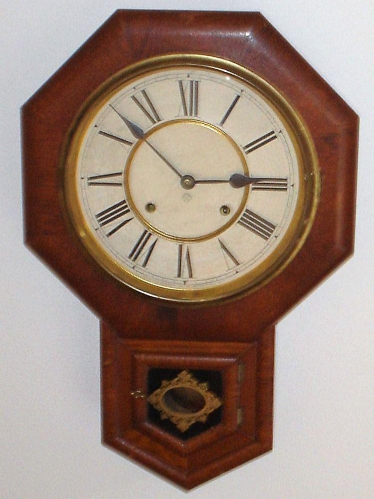 Antique Ansonia School House Regulator Wall Clock w Key Pendulum