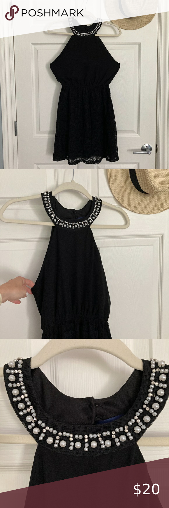 Black Dress With Pearls And Lace In 2020 Dresses Clothes Design Black Dress [ 1740 x 580 Pixel ]
