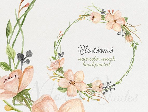 Watercolor blooming wreath. Hand painted floral wreath. Digital ...