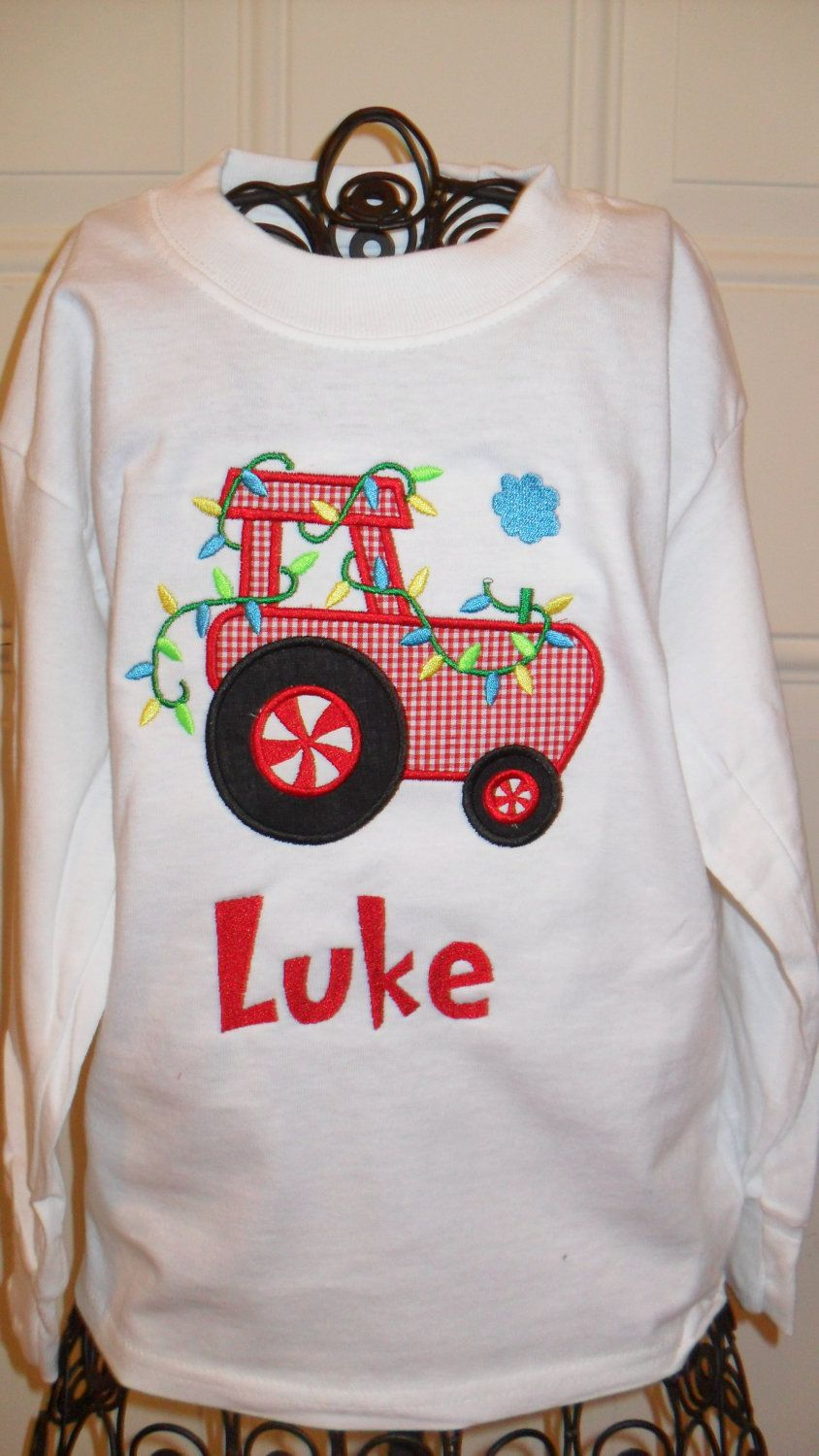 Boys christmas tractor applique shirt by