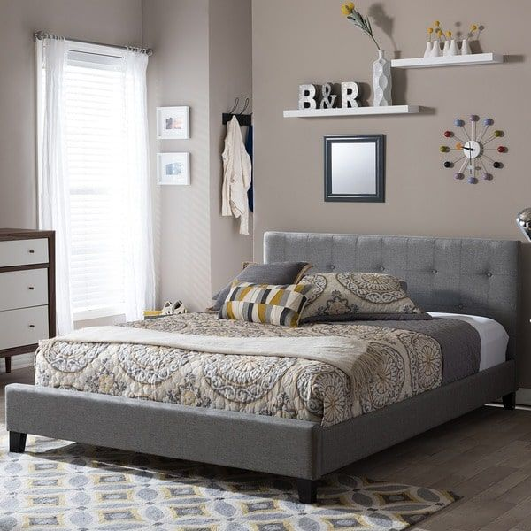 Transitional Gray Fabric Platform Bed By Baxton Studio Queen Size Grey