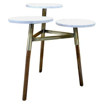 3 Tiered Accent Table Marble Gold Threshold Already Viewed