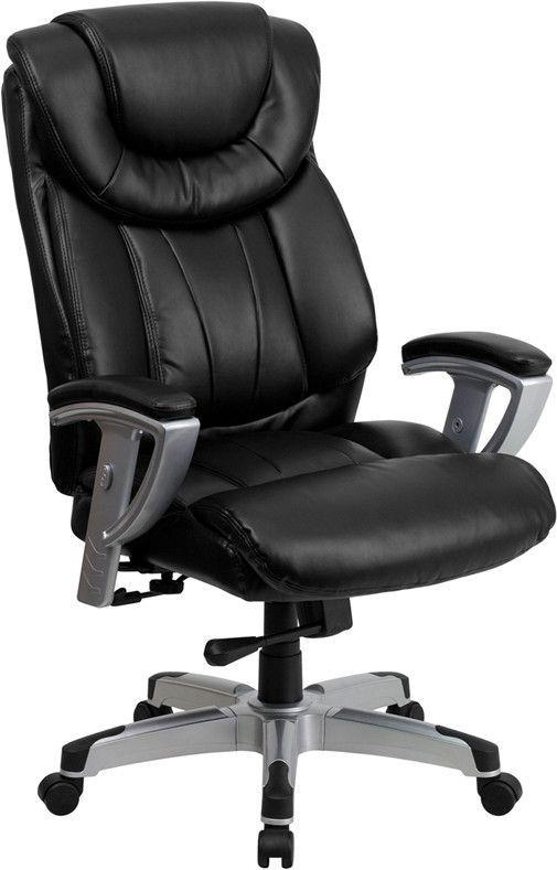 Flash Furniture Hercules Series 400 Lb Capacity Big Tall Black Leather Executive Swivel O In 2021 Black Leather Office Chair Leather Office Chair Black Office Chair Tall office chairs with arms