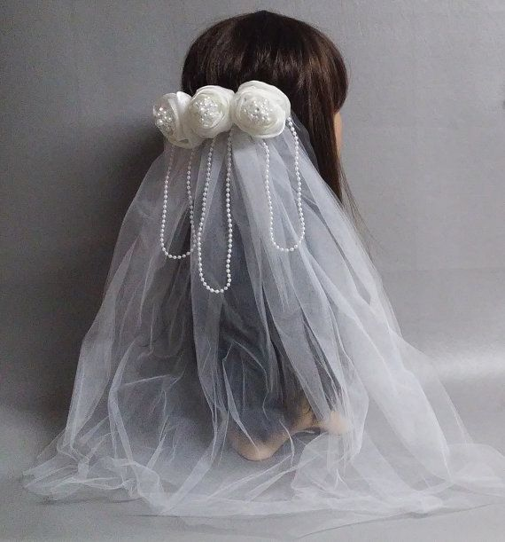 Wedding Veil White With Pearls-White Flowers Pearls Bridal Veil-Bridal Accessory