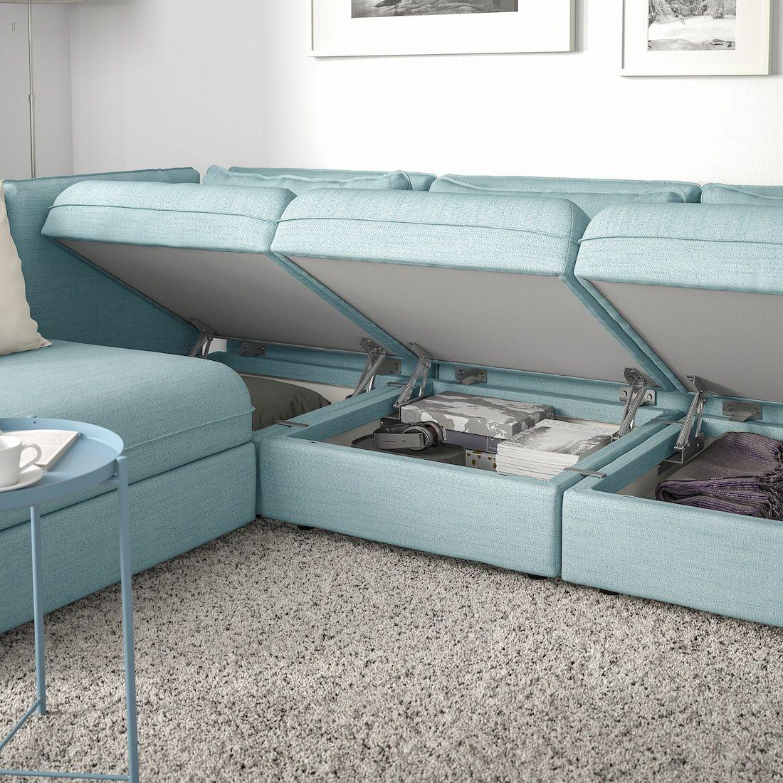 Vallentuna Modular Corner Sofa 3 Seat With Storage Hillared Light Blue Modular Corner Sofa Corner Sofa Diy Deck Furniture
