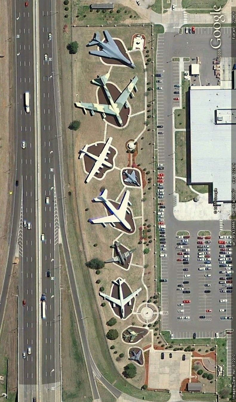 Aircraft on display along Interstate 40 in Oklahoma City