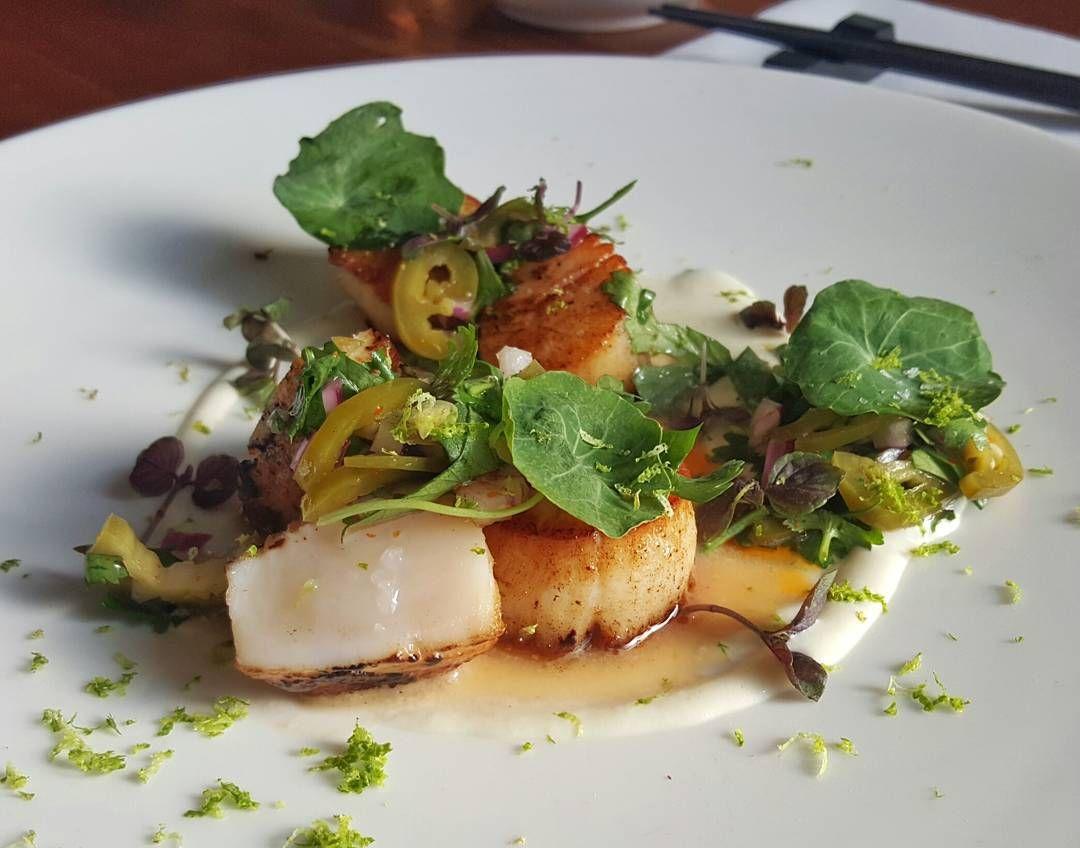 """Tonight's special - Seared Qualicum Bay Scallops, Salsa Verde, Fennel Puree, Micro Shiso / #pidginfood"""