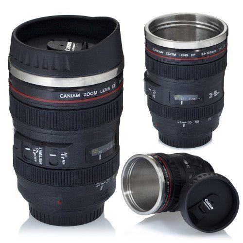 VENKON - Isolierkanne Thermobecher Tasse in Digitalkamera / Teleobjektiv Desing - für Kaffe, Tee, Milch, Wasser, etc. - 0.4l, schwarz, http://www.amazon.de/dp/B00ET00LEC/ref=cm_sw_r_pi_awd_2llOsb1V5TMZQ