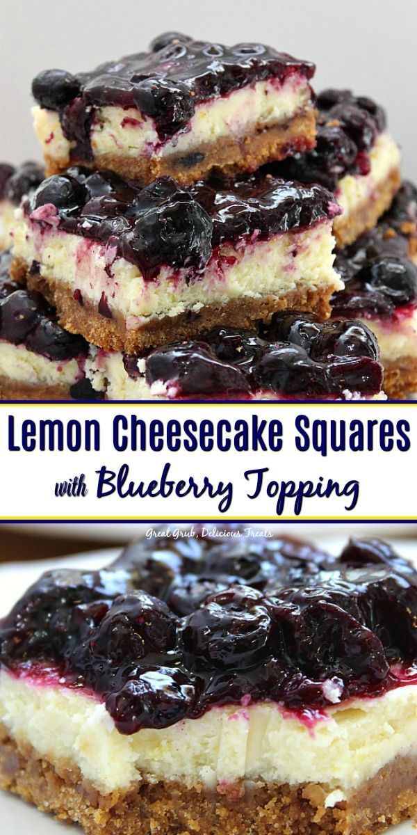 Lemon Cheesecake Squares with Blueberry Topping -    Lemon Cheesecake Squares with Blueberry Toppin