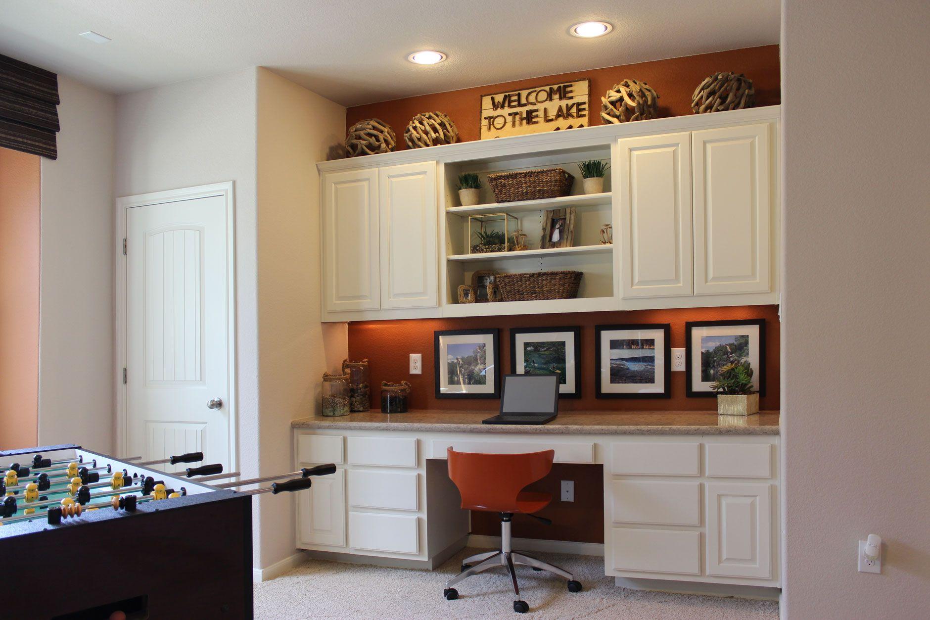 Game Room Desk In Bone White By Burrows Cabinets Built In Desk Glass Cabinet Doors Custom Cabinet Doors