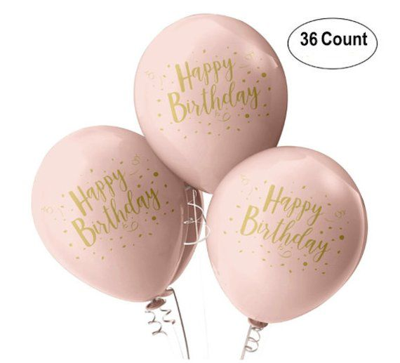 12 ROSE GOLD Happy Birthday Balloons Rose Gold Pink Party Bridal Shower Wedding Engagement Prom Latex Baby First