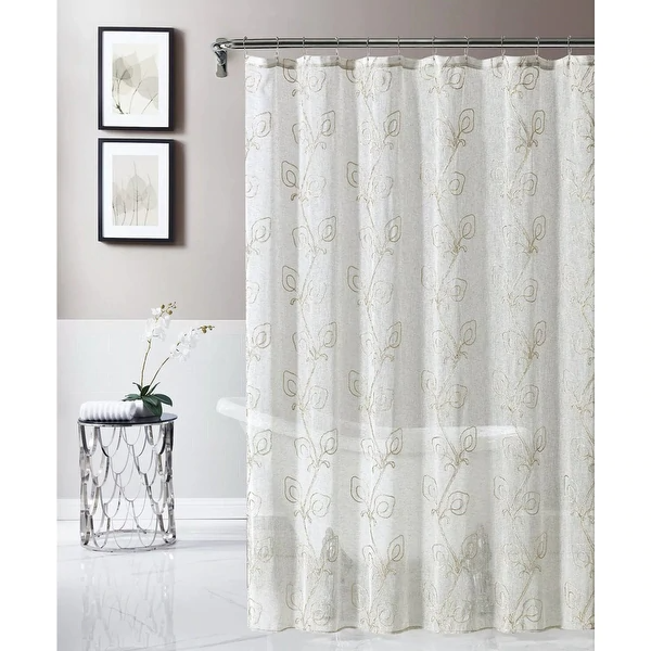 Shop Dainty Home Rita Chenille Embroidered Shower Curtain On