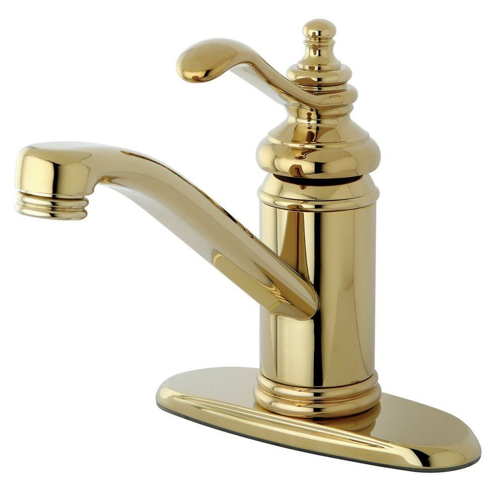 Kingston Brass 4 In Centerset 1 Handle High Arc Bathroom Faucet In Polished Brass Hks3402tl The Home Depot Single Hole Bathroom Faucet Bathroom Faucets Faucet