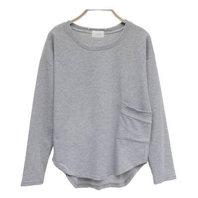 Plain Round Collar Pocket T-shirt