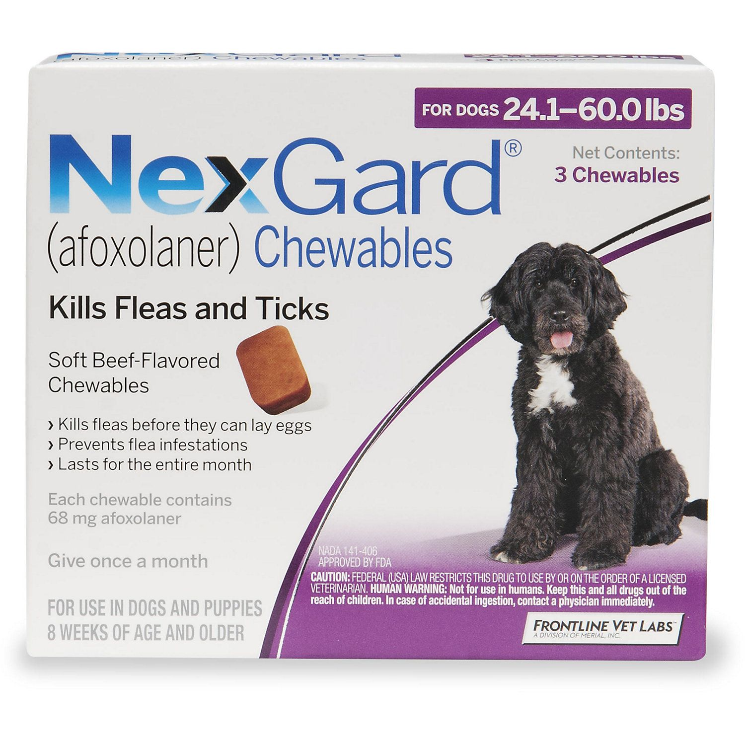 NexGard Chewables Purple for Dogs 24.1 to 60 lbs., 3