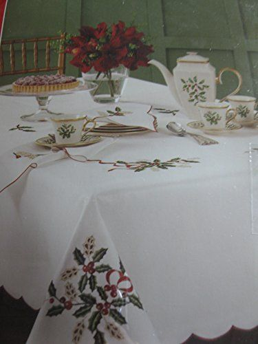 Lenox Holiday Cutwork Christmas Tablecloth White Oblong 60 X 120