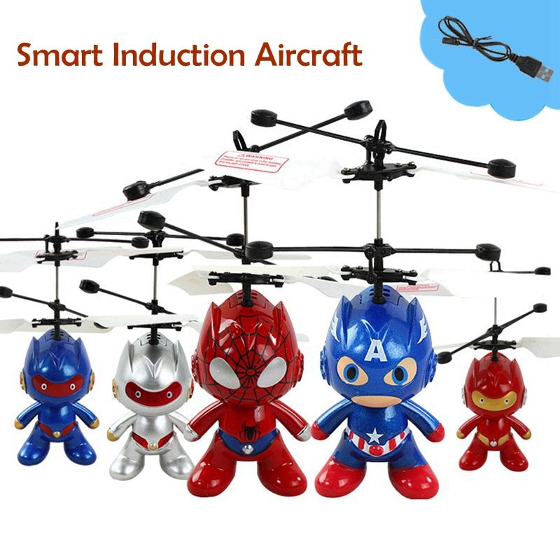 Mini Drones Smart Induction Aircraft Super Spider Man Captain America Astronaut Flying Sensors Helicopter Kid