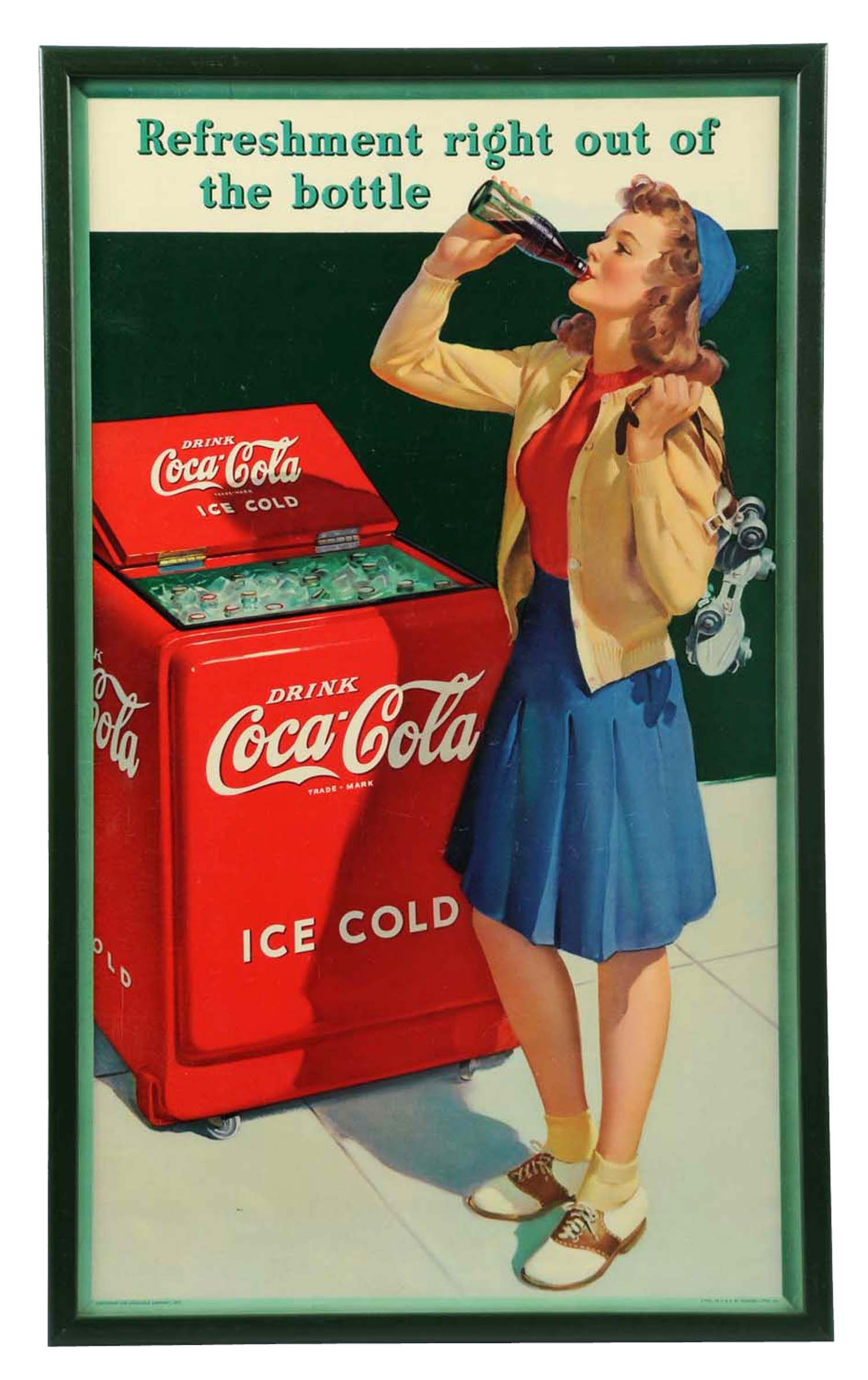 "March 30th Auction. 1941 Coca-Cola Small Vertical Poster. Framed under glass. Great example. Framed: 28-1/4"" x 17"". #CocaCola #Poster #RollerSkates #MorphyAuctions"