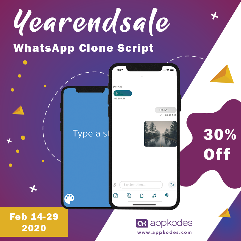 Whatsapp Clone Appkodes year end sale in 2020 Instant