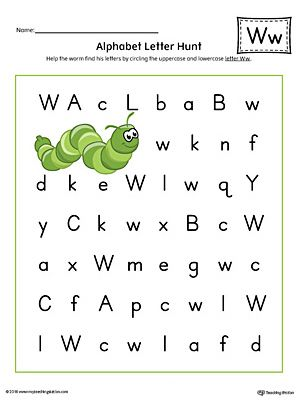 Alphabet Letter Hunt Letter W Worksheet Color