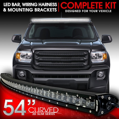 LED Light Bar Curved 312W 54 Inches cket Wiring Harness ... on