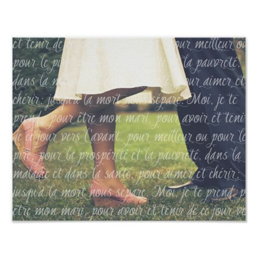 Your Wedding Photo And French Wedding Vows Script Poster Zazzle Com In 2020 Wedding Photo Canvas Wedding Vows Wedding Photos