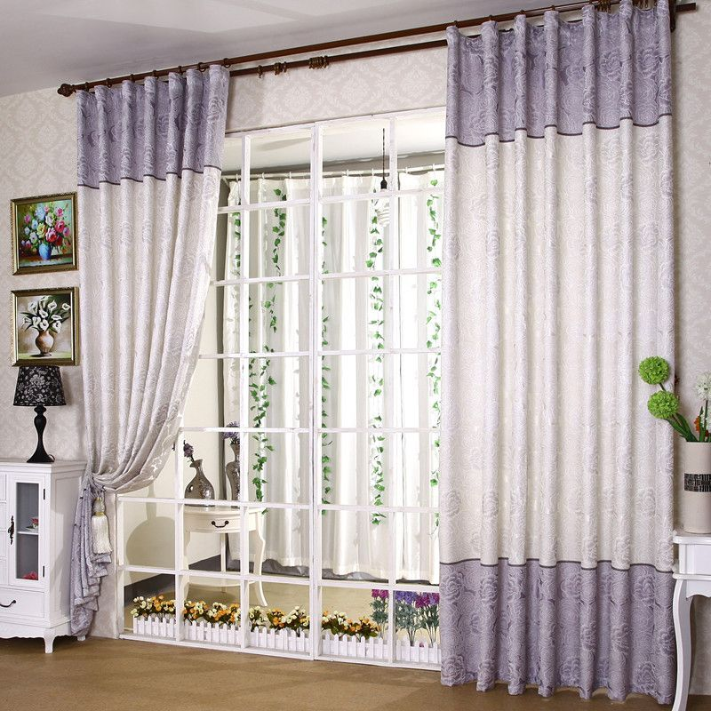 Lilac Fancy Thermal Polyester And Cotton Floral Printed Curtains Two Panels Printed Curtains Curtains Curtains For Sale