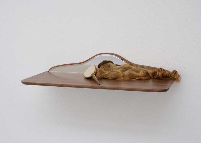 Vanity table II  2007, mirror, walnut, brush, hair, 14,5 x 83 x 33,5 cm