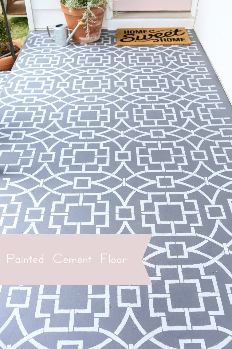 Painted cement floor using a stencil to create a cement tile look ...