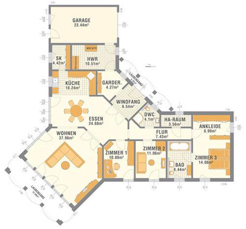 Grundriss bungalow u-form  Schlüsselfertiges Haus, 167 m² | Wohnung | Pinterest ...