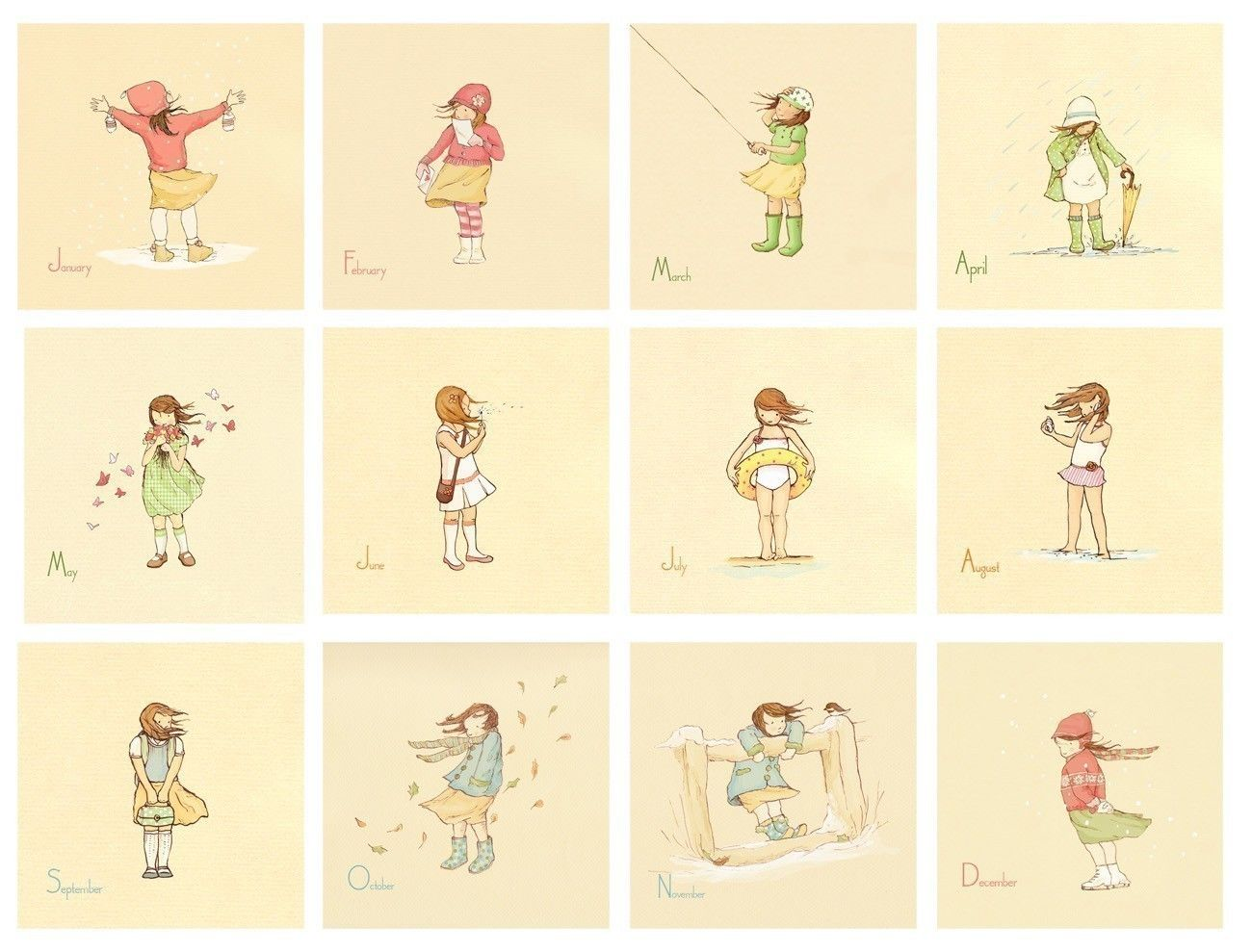 Kinder WandKunstdrucke ihr Monat fr MonatSET 12 8x8s  Postkarten  Pinterest  Kalender