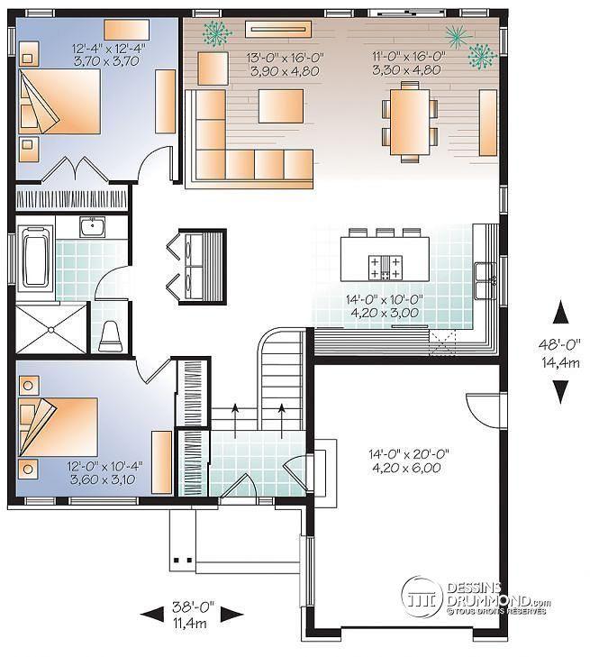 W3281 - Maison contemporaine split-level, à aire ouverte, 2 chambres - image de plan de maison