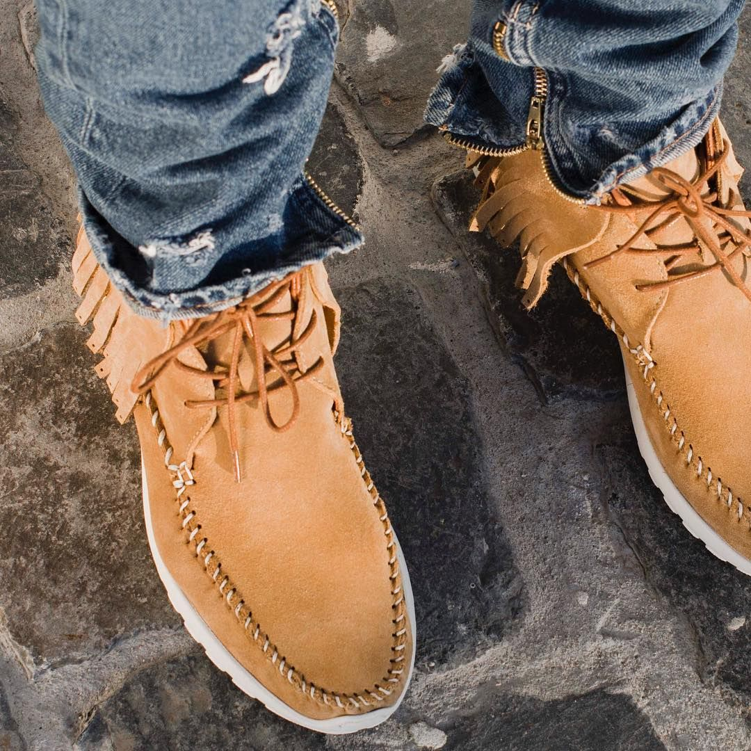 Let them swish with every step. The 'MOC' in deep Caramel, now available. bornonmelrose.com