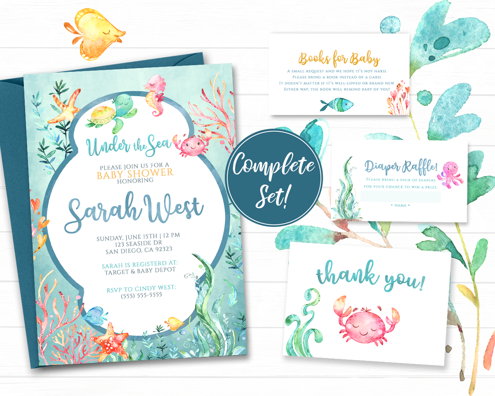 Under The Sea Baby Shower Invitation Printable For A