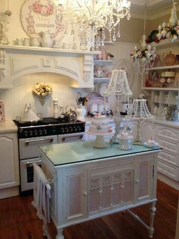 White Shabby Chic Kitchen with Small Pink