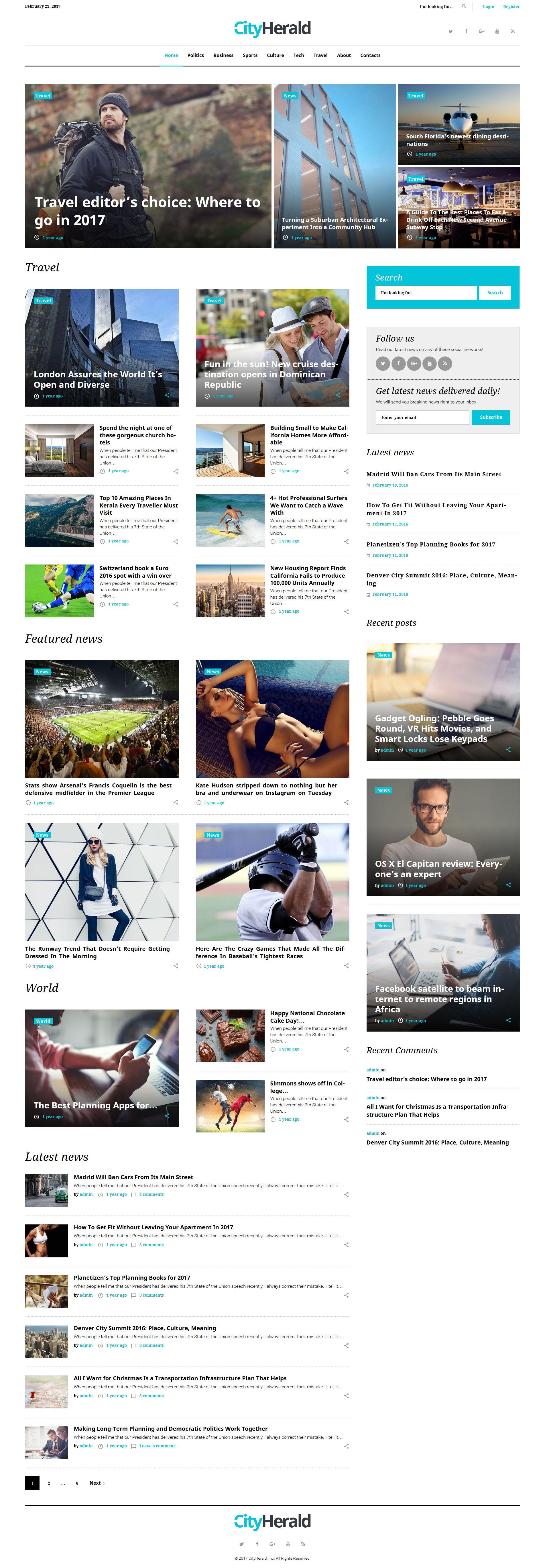 City Herald - Magazine - WordPress Template | Wordpress | Pinterest ...