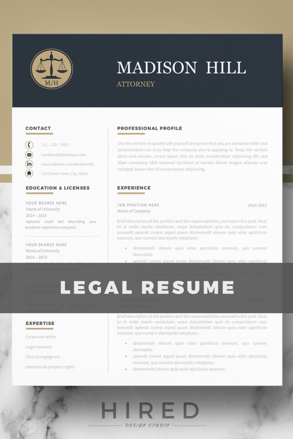 R15 MADISON HILL Attorney Resume template for Word or