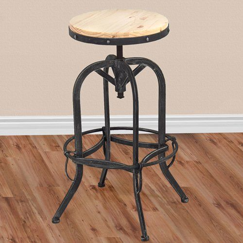 Vintage Bar Stool Industrial Metal Design Wood Top Adjustable Height Swivel Best Choice Products Http Vintage Bar Stools Metal Bar Stools Industrial Bar Stools