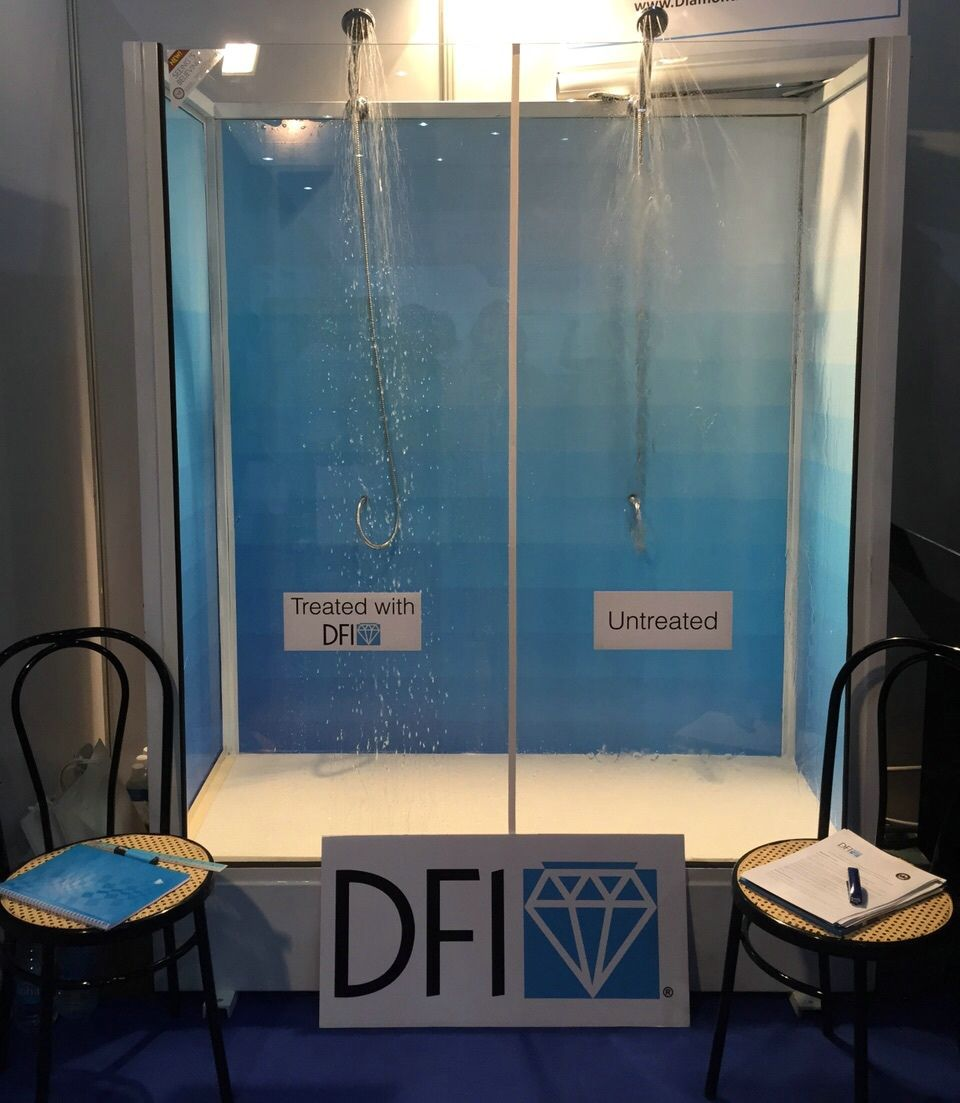 Check Out The Dramatic Difference Between Dfi Treated Vs Untreated Shower Enclosure At Our Booth C33 In Hall 1 At P Shower Enclosure Protective Coating Shower